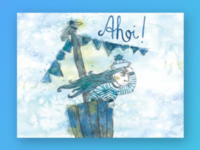 Ahoi! postcard illustration