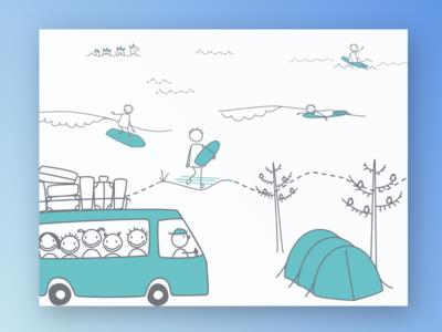 Summersurf branding illustration