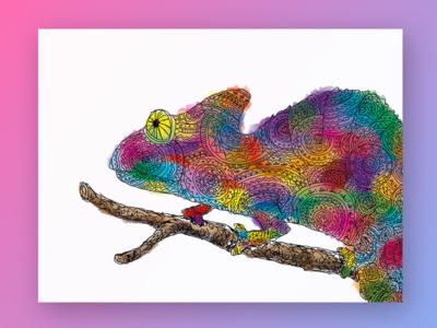 Chameleon postcard illustration