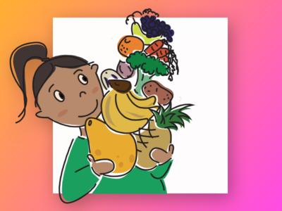 Eat your greens peru fruits vegetables illustration