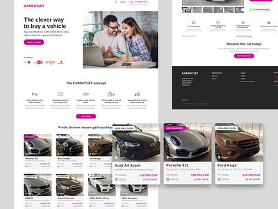 Caroutlet: Landing page exploration ui ux figma design components responsive design website design web design buy car online marketing website buy cars sell cars landing landing page