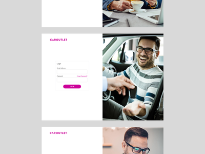 Caroutlet: Login, Signup, Password recovery components figma web design account buying process welcome screens uiux recovery password reset signup login