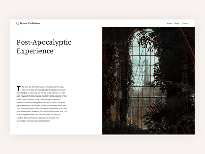 Type Layout Exploration minimalist clean article apocalypse post-apocalyptic book read typography typo type layout cover story blog