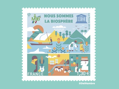 UNESCO STAMP ecology branding world green stamp earth france unesco digital design vector drawing illustration