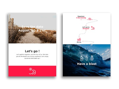 Ocean Atlantique minimalist travel interaction cleanui itinerary card vacation summer beach icons gif