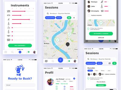 Clean UI Mobile App architecture palette card ux map mobile app ui kit minimalist cleanui music app events