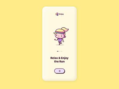 Enjoy your day hello dribbble animation character swipe pastel scroll sing flower run enjoy flat ux ui app desgin illustraion