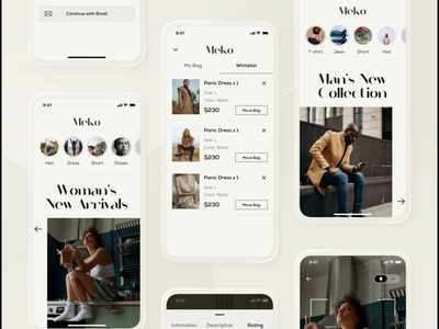 Meko Fashion fashion brand fashion app fashion design fashion branding ui design kit uiuxdesign logo flat desgin ui app