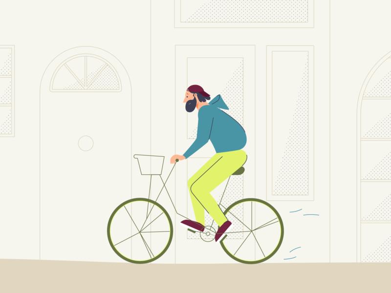 Biking around the city city sport caracter design illustrator bike ride bike