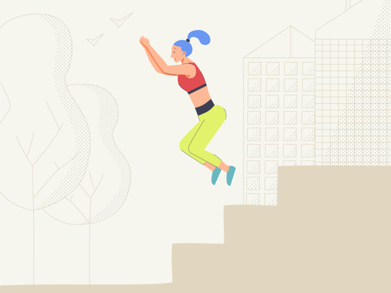 Jumping, smiling, living lyon city caracter jump sport illustrator