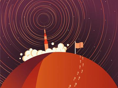 Exploration - Leaving Mars flag space spaceship rocket star smoke vector planet