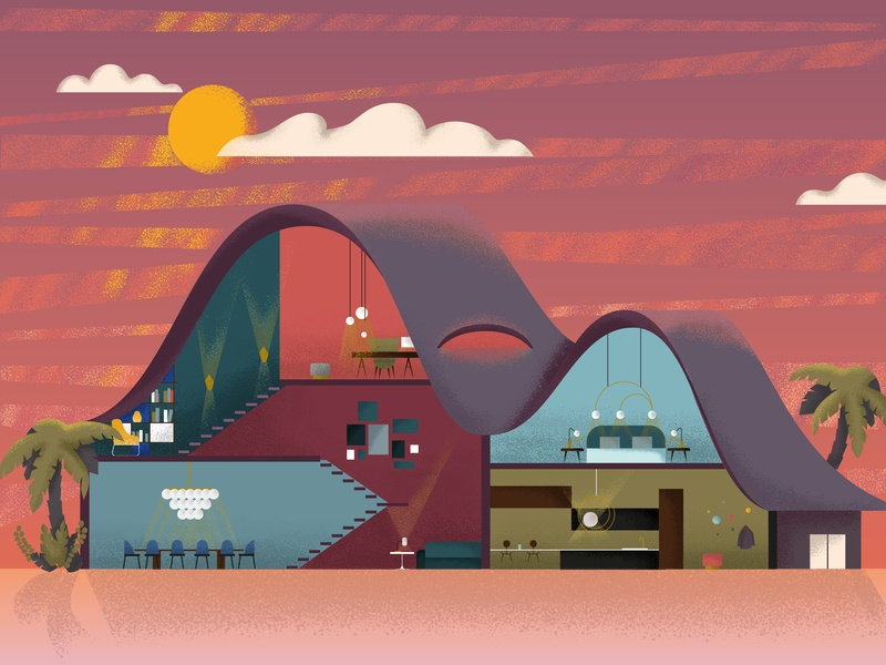Dream house sky sunset sun texture grain architechture house design