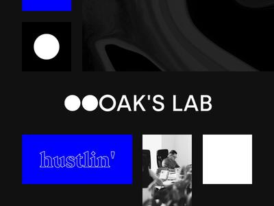 OAK'S LAB brand - general overview typography animation texture creative design debut clean minimal layout prague los angeles logo blue black visual identity identity brand branding agency