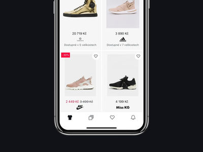 GLAMI - mobile app - catalog products product list iphonex minimalist minimal clean digital product design mobile app iphone ios fashion shopping shop ecommerce catalog user experience ux ui