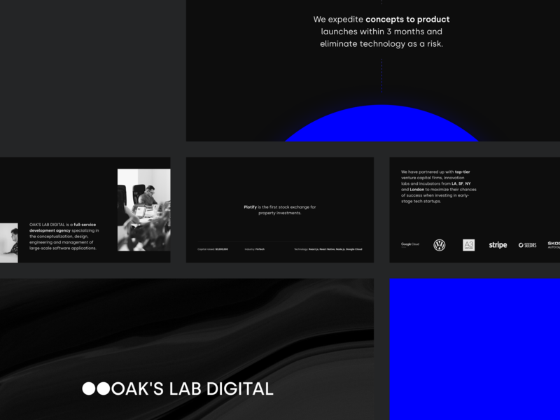 OAK'S LAB — Slides branding filip kominik its in the tech oaks lab slide deck slides slide presentation layout presentation slides sketch keynote design style presentation design deck brand