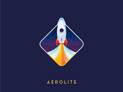 Daily Logo 1/50 - Aerolite Rocketship Logo mark branding illustration spaceship rocket launched rocketship rocket logodesign logochallenge dailylogochallenge