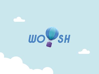 Daily Logo 2/50 - WOOSH Logo Design mark branding illustration sky daily logos baloon air baloon logo design logochallenge dailylogochallenge