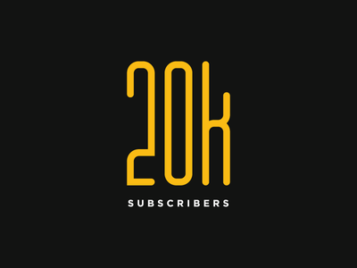 20K Subscribers. Thank You! yellow rounded youtubers youtube subscribers lettering letter monogram typo typography type