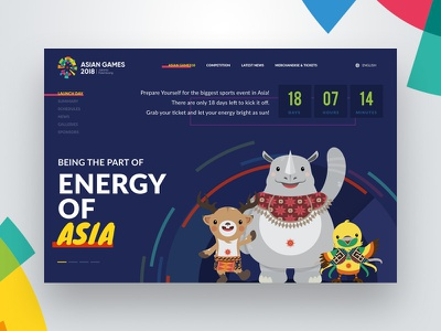 Landing Page Asian Games 2018 | Daily UI 003 olympic launching illustration landing pages sports interaction countdown desktop ux ui website dailyui