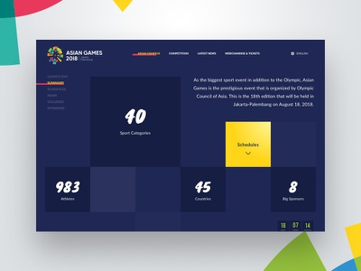 Summary page - Landing Page Asian Games 2018 olympic dailyui website ui ux desktop dark interaction sports landing pages summary homepage