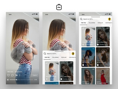 IGTV Exploration - Browse Videos user interface animation interaction vertical youtube image video instagram igtv iphone x iphone