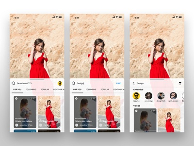 IGTV Exploration - Search Videos mobile browse search experience vertical youtube videos instagram igtv user interface iphone x