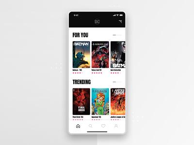 DC Comics (Concept) - Freebie #6 home filters search free freebies freebie sketch adobe xd book harley quinn joker batman mobile app mobile comics ux ui app