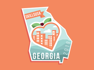 Georgia Pin Design pin fruit clouds blue orange city skyline waves mountains heart peach georgia skillsusa