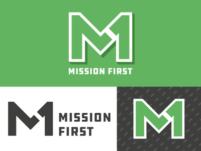 Mission First Logo logotype simple flat icon mark black branding green logo