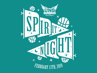 UNG Basketball Spirit Night tshirt flat flag pennant spirit night moon spring stars blue basketball ung illustration