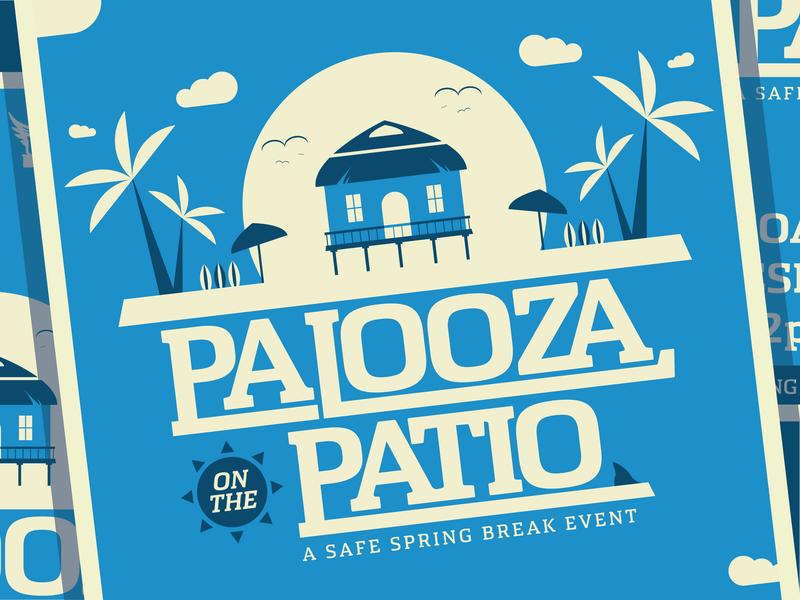 Palooza on the Patio Poster event type flat seagull spring break poster clouds beach shark hut sun surfboard palm tree blue illustration