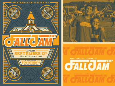 Fall Jam Shirt & Poster sticker falljam mountains illustration line steeple monoline blue yellow festival shirt