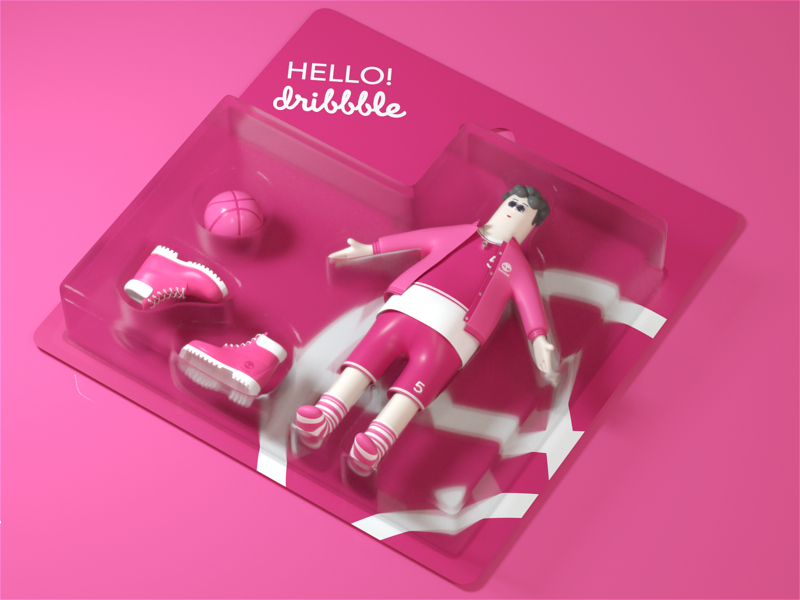 Hello Dribbble one more ui branding illustration design c4d