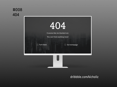 DailyUI 008 - 404 Page (Utility) mockup desktop design 404 black and white black dark dailyui 008 dailyui