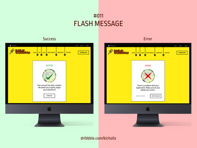 DailyUI 011 - Flash Message (Land of Headhunters) sarawak kenyalang yellow web app web design desktop error success flash message dailyui 011 dailyui