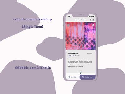 DailyUI 012 - E-Commerce Shop (Single Item) (Lamin Dana) malaysia sarawak textiles shop mobile app mobile design ecommerce purple dailyui 012 dailyui