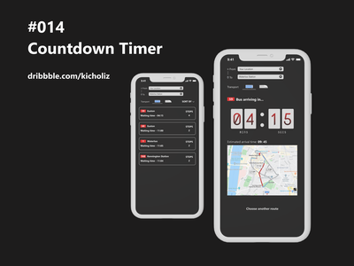 DailyUI 014 - Countdown Timer countdown timer transportation mobile design mobile app dark black dailyui 014 dailyui