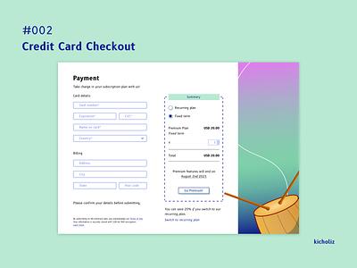 DailyUI #002 - Credit Card Checkout credit card music design ui checkout subscription plan desktop dailyui