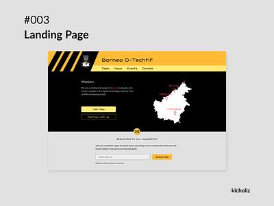 Day 3 - Landing Page association society group collective online newsletter community borneo logo red yellow orange black desktop dailyui
