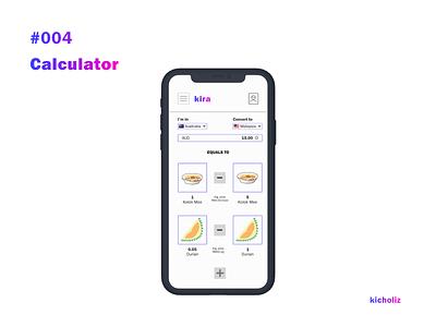 DailyUI #004 - Calculator currency converter calculator food mobile app dailyui