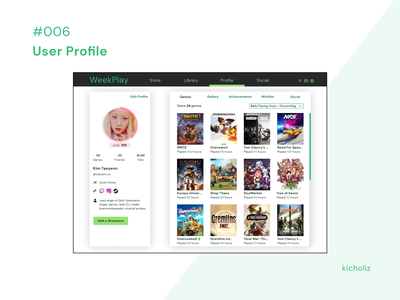 DailyUI #006 - User Profile user profile user profile game video pc games ui design mobile app desktop dailyui