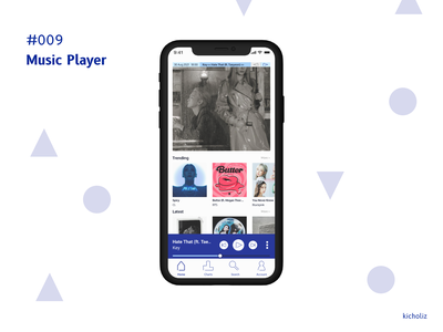 DailyUI #009 - Music Player recommended recent latest home music korean kpop blue white music player dailyui