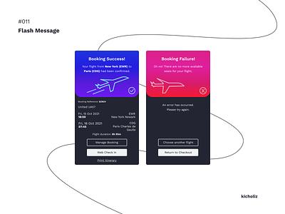 DailyUI #011 - Flash Message declined confirmed pass warning failure error success check booking flight airplane ui dark mobile app dailyui