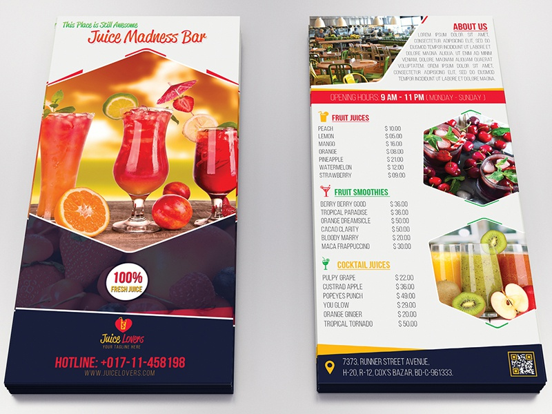 Juice Lovers Dl Flyer Template By Runner Design Dribbble