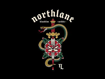 Northlane design illustration badge vector blackletter gothic flash sheet rose snake dagger trad tattoo tattoo tattoo flash