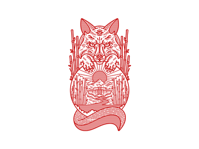 Lost Time artwork art lost time scenery clouds sun bamboo waterfall mountain fox illustration single weight badge line vector