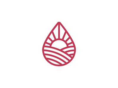 Marshall ABV wine drop sun mountain design illustration single weight line vector logo design branding badge icon logo