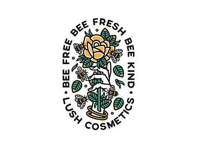 Lush Cosmetics vector merch design illustration badge tattoo lfash trad tattoo tattoo hand roses bees bee rose lush cosmetics lush