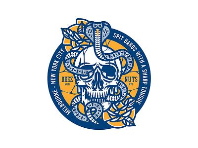 Deez Nuts design illustration line vector tattoo flash trad tattoo tattoo roses skull snake cobra badge merch band merch deez nuts