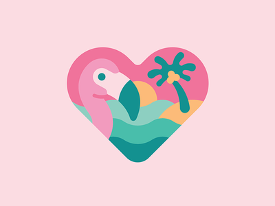 Falmingo   Art design illustration line beach party colour badge vector sun island palm tree waves tropical summer love heart love heart beach flamingo
